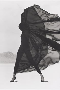 Versace Veiled Dress, El Mirage, 1990   By Herb Ritts - HarpersBAZAAR.com