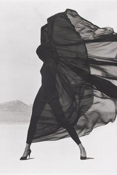 Versace Veiled Dress, El Mirage, 1990   By Herb Ritts - HarpersBAZAAR.com