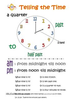 Telling the time (basic knowledge) worksheet - Free ESL printable worksheets made by teachers