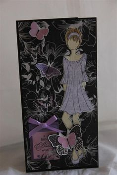 Prima doll stamp by Julie Nutting,kaisercraft velvet crush paper.