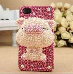 NEW-3D-Handmade-Beige-Pig-Bling-For-cell-Phone-For-iPhone-6-Case-Cover-Skin-a2