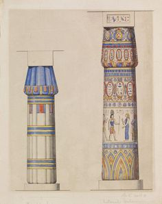 Temple of Luqsor Lateral Column Temple of Karnak - by Owen Jones Life In Ancient Egypt, Ancient Aliens, Ancient Greece, Ancient Egyptian Architecture, Ancient Egyptian Art, European History, Art History, American History, Architecture Drawings