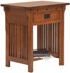 Amish Outlet Store : Royal Mission Open Nightstand in Q.S. White Oak