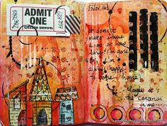 A mini journal page with houses by Kate Crane thekathrynwheel.blogspot.com. Cute!