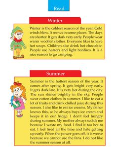 Writing skill - grade 2 - seasons (2) English Stories For Kids, Learning English For Kids, Teaching English Grammar, English Lessons For Kids, English Worksheets For Kids, English Writing Skills, Learn English Words, English Reading, English Language Learning
