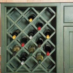 Idea.. take off a cupboard door, remove the shelves, and make a wine rack!