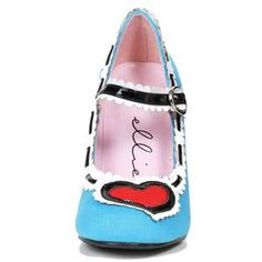 "406-ALISE, 4"" Alice in Wonderland Costume Shoes in Blue"