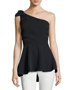 One-Shoulder+Bow+Peplum+Top,+Black+by+Marled+by+Reunited+at+Neiman+Marcus+Last+Call.