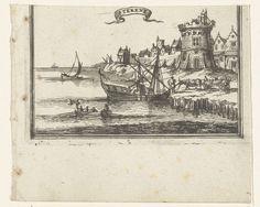 Romeyn de Hooghe   Illustratie voor 'Den Arbeid van Mars' van Allain Manesson Mallet, Romeyn de Hooghe, 1672   Gezicht op een stad aan een rivier (Stekene). Op de voorgrond een aangemeerd schip. Het betreft hier de onderste helft van een bladzijde uit het boek 'Den Arbeid van Mars' van Mallet, de bovenste helft is afgeknipt.
