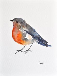 ORIGINAL Watercolor Painting Robin Illustration by ArtCornerShop, $30.00