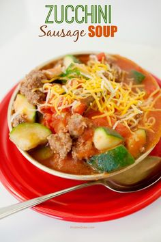 Zucchini Sausage Soup, a hearty and delicious meal with fun Christmas colors, too!