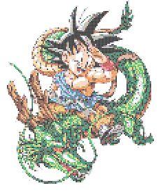 son goku dragon ball plantilla hama beads