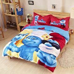 Teen Boys Smurfs Bedding Set Comforter Duvet Cover Set //Price: $99.05 & FREE Shipping //     #bedding sets