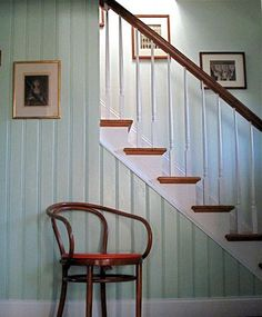 "home of designer erica-lynn huberty: ""We had historic bead-board cut for the stair wall at a local factory (cheaper, believe it or not, than buying new tongue-in-groove, and the pre-cut wainscot you get these days looks cheap and inauthentic)."