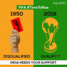 1950 they needed studs, 2018 they need us! Let's support the Indian Football team & create history. #TimeToRise