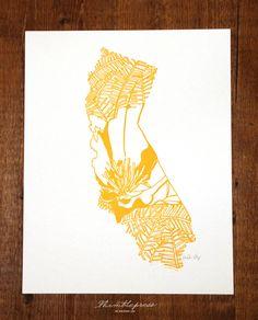 Letterpress California Poppy by thimblepress on Etsy - LOVE IT