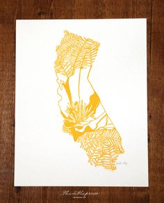 Letterpress California Poppy. $25.00, via Etsy.