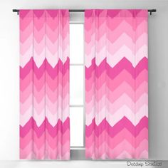 Pink Ombre Chevron Curtains Girls Bedroom Room Decor - Blackout and Sheer Window Drapery Panels Girls Room Curtains, Window Curtains, Girls Bedroom, Hot Pink Decor, Chevron Curtains, Baby Girl Nursery Decor, Boys Wallpaper, Drapery Panels, Nursery Wall Decals