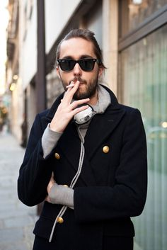 I love what he is wearing, not so much the smoking!