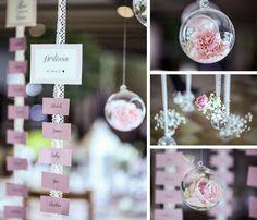 Déco by FéeLicité Photos: Raphael Melka Plan de table suspendu Mariage La vie en rose au Moulin de DuppigheimMariage La vie en rose au Moulin de Duppigheim
