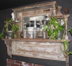 mantle - love the glass bottles in old wire basket! Wood Mantle Fireplace, Wooden Mantle, Mantle Shelf, Vintage Mantle, Antique Mantel, Vintage Shelf, Home Decor Shelves, Furniture Restoration, Creative Decor