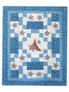"Here's a quick and easy quilt pattern to stitch for Baby!    In the Sweet Dreams baby quilt pattern, you'll combine fusible-web applique with easy 4-patch piecing to create this 48"" x 60"" crib or baby quilt. Perfect for any nursery!"