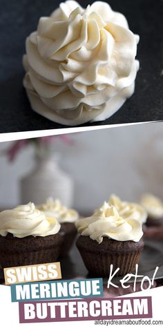 You have never tasted a sugar-free frosting THIS good! Silky Swiss Meringue Frosting is keto friendly and absolutely divine. Spread or pipe it onto your favorite low carb cakes and cupcakes - you will never make frosting any other way again. #ketodiet #lowcarbrecipes #ketorecipes #ketodessertrecipes #frosting #vanillafrosting #buttercreamfrosting #sugarfree