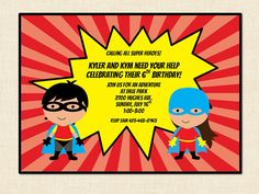 Super Hero Birthday Invitation (boy or girl) printable twins combined party. $10.00, via Etsy.