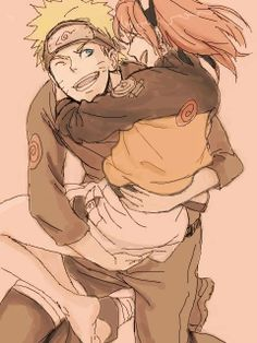 Naruto holding Sakura in his jacket. Naruto and Sakura