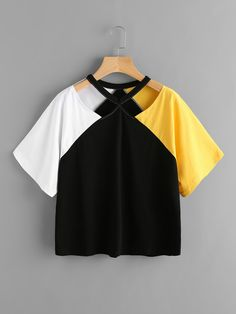 Shop Color Block Cut Out Neck Tee online. SheIn offers Color Block Cut Out Neck Tee & more to fit your fashionable needs. Girls Fashion Clothes, Teen Fashion Outfits, Mode Outfits, Girl Fashion, Girl Outfits, Emo Fashion, Crop Top Outfits, Cute Casual Outfits, Pretty Outfits
