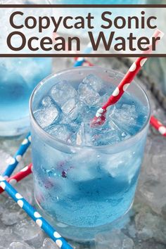 This easy-to-make Copycat Sonic Ocean Water is refreshingly delicious with plenty of tangy, coconut flavors perfect for summer sipping! Lemon-lime soda is mixed with coconut extract and blue food coloring to create this restaurant copycat recipe! #drink #beverage #copycatrecipe #mocktail #summerdrinks #summer Smoothie Drinks, Smoothie Recipes, Smoothies, Drink Recipes, Shake Recipes, Recipes Dinner, Vegan Recipes, Cocktails, Non Alcoholic Drinks