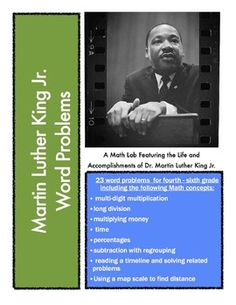MLK Math Lab: Word Problems Featuring Martin Luther King J