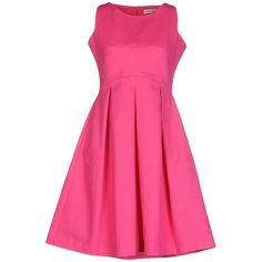 Maison Olivia Short Dress ($190) ❤ liked on Polyvore featuring dresses, fuchsia, fuschia dress, cotton mini dress, pleated mini dress, sleeveless cotton dress and cotton dress