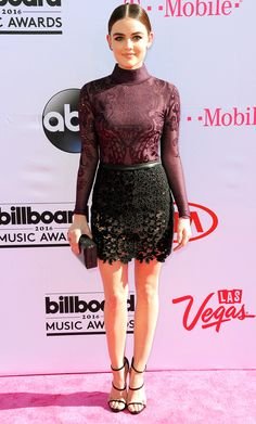 Billboard Music Awards 2016: All the Best and the Boldest Looks from the Red Carpet | People - Lucy Hale in a purple lace Zuhair Murad bodysuit and black lace miniskirt