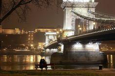 Winter night scene in Budapest, Hungary