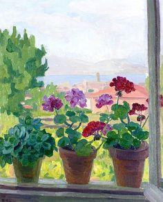 Window over Saint-Tropez by Blanche-Augustine Camus (France)
