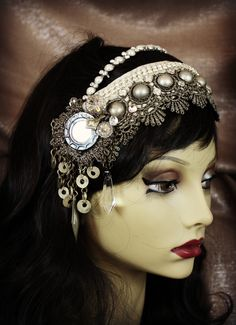 gitter headdreess | Tribal Fusion Headdress- Pearly- Shi Shas, Antique Gold Lace, Kuchi ...