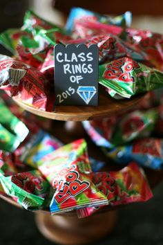 Graduation Party Candy Bar with sources for the treats and clever school themed candy names!