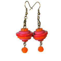 Button  Earrings, Dangle Earrings, Whimsical Jewelry