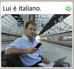 """HE IS ITALIAN."" Well, well, well… Italian male, inside a train station, with what looks to be MY stolen MacBook Pro… will someone please call the authorities? Just when he thought he could get away with the crime, Rosetta Stone stopped him for his photo.  The funniest stock images from Rosetta Stone - MWL #languagelearning #Italian #funny"