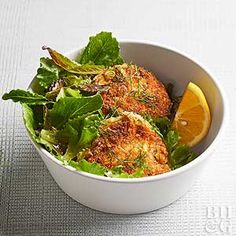 Chopped Meyer lemon adds sweet, aromatic notes to each and every bite of these tender salmon cakes.