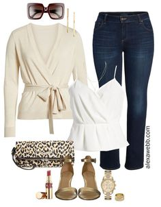 Plus Size Date Night Outfit Plus Size Date Night Outfit – Dark Bootcut Jeans, Beige Cardigan, White Cami Top, Leopard Clutch, Gold Sandals – Plus [. Fashion Models, Curvy Fashion, Womens Fashion, Fashion Edgy, Petite Fashion, Fashion Bloggers, Fashion Boots, Fall Fashion, Style Fashion