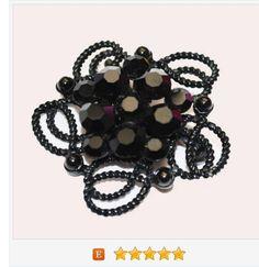 Weiss Brooch - Black Rhinestone Flower brooch - Japanned enameling - Floral pin https://www.etsy.com/serendipitytreasure/listing/515929361/weiss-brooch-black-rhinestone-flower?ref=listings_manager_grid