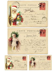 Vintage French Christmas Postcards Free Printable