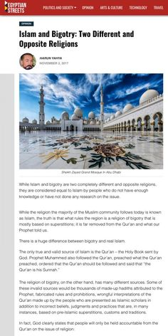 Islam and Bigotry: Two Different and Opposite Religions