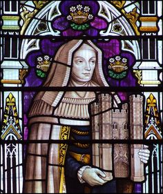 Lady Margaret Beaufort depicted in a stained glass window in St Botolph's Church, Boston.