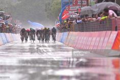 #Giro101 ISEO - FRANCIACORTA STAGE, ITALY - MAY 23: Arrival / Sprint / Danny Van Poppel of The Netherlands and Team LottoNL-Jumbo / Jens Debusschere of Belgium and Team Lotto Soudal / Jean-Pierre Drucker of Luxembourg and BMC Racing Team / Elia Viviani of Italy and Team Quick-Step Floors Purple Points Jersey / Sam Bennett of Ireland and Team Bora-Hansgrohe / Niccolo Bonifazio of Italy and Team Bahrain-Merida / Rain / during the 101st Tour of Italy 2018, Stage 17 a 155km stage from Riva Del…