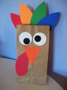 2014 Cute Brown Thanksgiving Turkey Crafts - Treat Bag, Funny Pattern, Green, Blue, Red, Orange - Cool ideas: 2014 Thanksgiving turkey crafts by tyrabanks