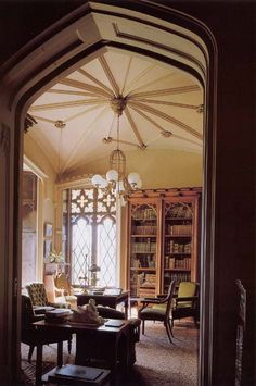 GothicThe high cielings and large windows created a        striking contrast between light and darkness        in most rooms. This use of light and the        prominence of heavy wooden furniture created        rooms that were austere, reflecting the desire        to appear ascetic.