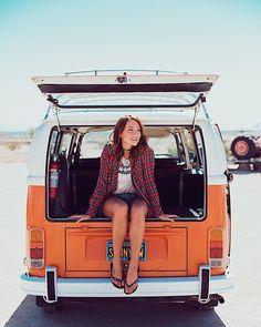 life is now! Volkswagen combi vw fashion spring summer style denim cutoffs
